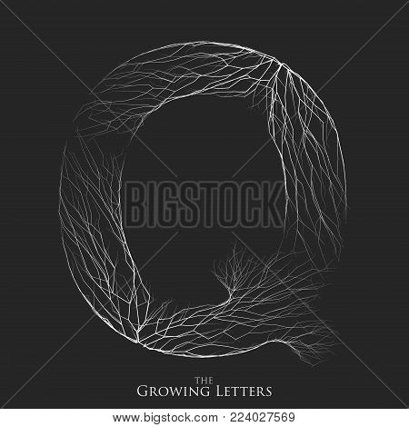 Vector letter Q of branch or cracked alphabet. Q symbol consisting of growing white lines. Fractured letters. Lighting silhouet of capital letters. Abstract font