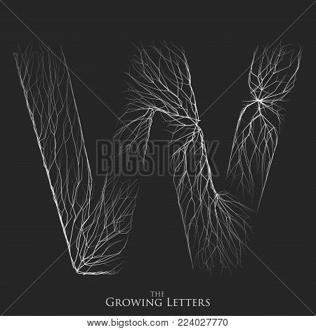 Vector letter W of branch or cracked alphabet. W symbol consisting of growing white lines. Fractured letters. Lighting silhouet of capital letters. Abstract font