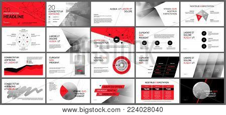 Red presentation templates elements on a white background. Vector infographics. Use in Presentation, flyer and leaflet, corporate report, marketing, advertising, annual report, banner.