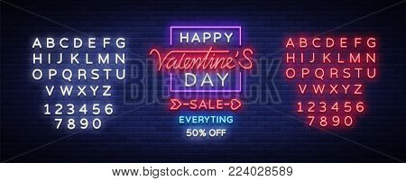 Valentine day sale neon sign. Vector illustration. Neon banner, light flyer, invitations, posters, brochures, banners. Bright advertising of discounts to the day of lovers. Editing text neon sign.