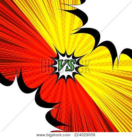 Comic rivalry bright template with two opposite yellow and red sides, white blank speech bubbles, halftone, and rays humor effects on radial backgrounds. Vector illustration