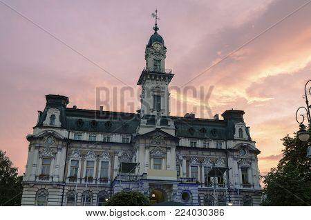 Nowy Sacz City Hall At Sunset. Nowy Sacz, Lesser Poland, Poland.