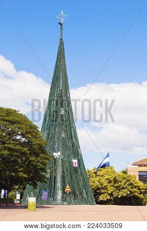 Christmas Tree On Plaza De La Republica In Managua. Managua, Nicaragua.