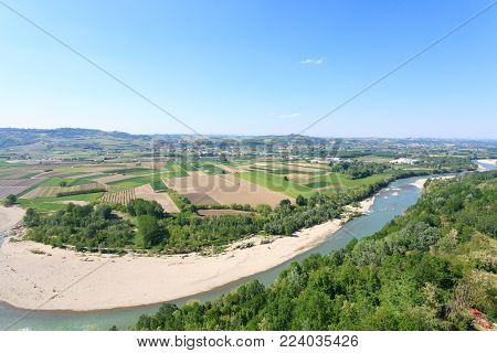 Tanaro River View. Vineyards From Langhe Region,italy Agriculture. Unesco World Heritage Site