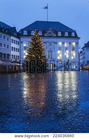 Christmas Tree And City Hall On Marktplatz In Bonn. Bonn, North Rhine-westphalia, Germany.