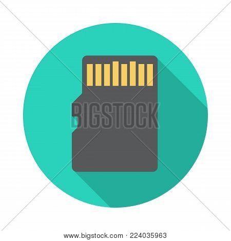 SD memory card circle icon with long shadow. Flat design style. Memory card simple silhouette. Modern, minimalist, round icon in stylish colors. Web site page and mobile app design vector element.
