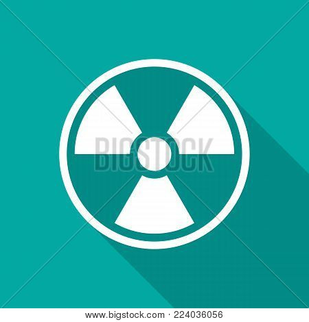 Radiation Symbol Icon With Long Shadow. Flat Design Style. Radiation Symbol Simple Silhouette. Moder