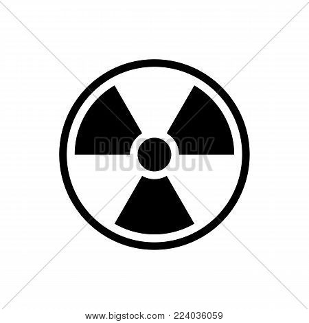 Radiation symbol circle icon. Black, round, minimalist icon isolated on white background. Radiation symbol simple silhouette. Web site page and mobile app design vector element.