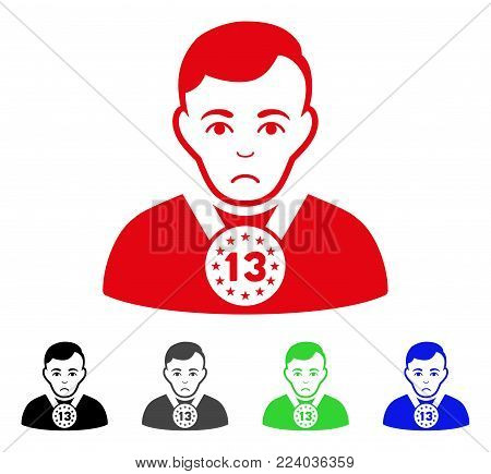 Sad 13Th Prizer Sportsman vector pictograph. Vector illustration style is a flat iconic 13th prizer sportsman symbol with grey, black, blue, red, green color versions. Face has unhappy emotions.