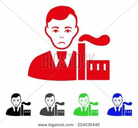 Pitiful Capitalist Oligarch vector pictogram. Vector illustration style is a flat iconic capitalist oligarch symbol with grey, black, blue, red, green color versions. Face has desperate emotions.