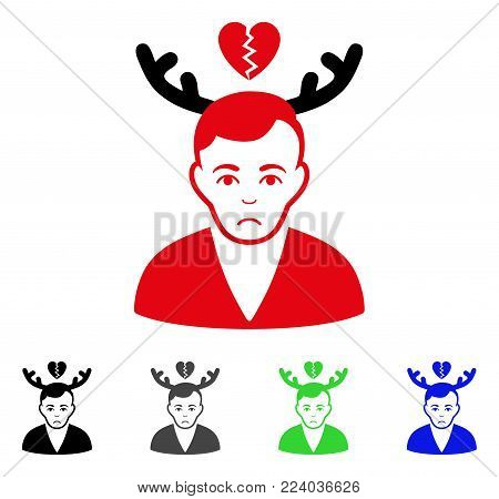 Sad Deceived Horned Husband vector pictograph. Vector illustration style is a flat iconic deceived horned husband symbol with gray, black, blue, red, green color versions. Face has dolour emotion.