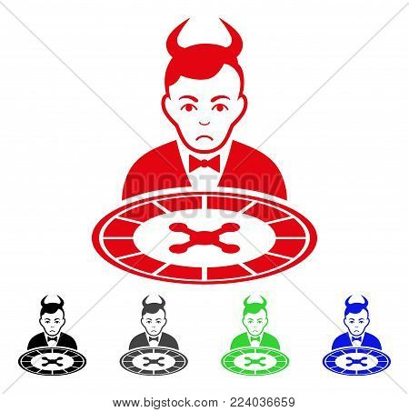 Dolor Devil Roulette Dealer vector pictogram. Vector illustration style is a flat iconic devil roulette dealer symbol with grey, black, blue, red, green color versions. Face has mourning expression.