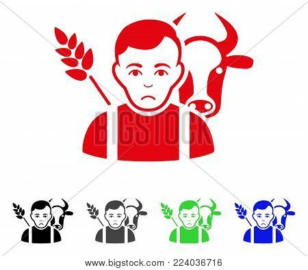 Unhappy Farmer vector icon. Vector illustration style is a flat iconic farmer symbol with gray, black, blue, red, green color versions. Face has unhappy expression.