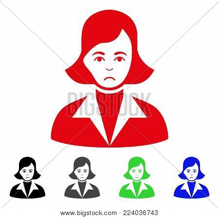 Sad Lady vector pictograph. Vector illustration style is a flat iconic lady symbol with grey, black, blue, red, green color variants. Face has sorrow emotions.