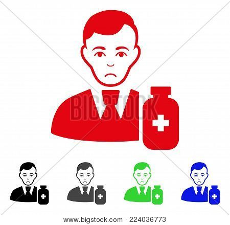 Pitiful Medical Pharmacist vector pictograph. Vector illustration style is a flat iconic medical pharmacist symbol with gray, black, blue, red, green color versions. Face has sadness expression.
