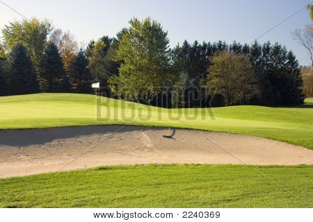 Golf Course Green And Bunker