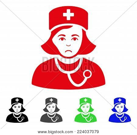 Unhappy Physician Lady vector pictograph. Vector illustration style is a flat iconic physician lady symbol with grey, black, blue, red, green color versions. Face has depressed expression.