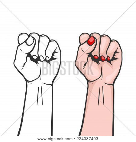 Raised women s fist closeup isolated on white background - symbol unity or solidarity, with oppressed people and women s rights. Feminism, protest, rebel, revolution or strike sign. Template for art posters, backgrounds etc. Stock vector illustration.