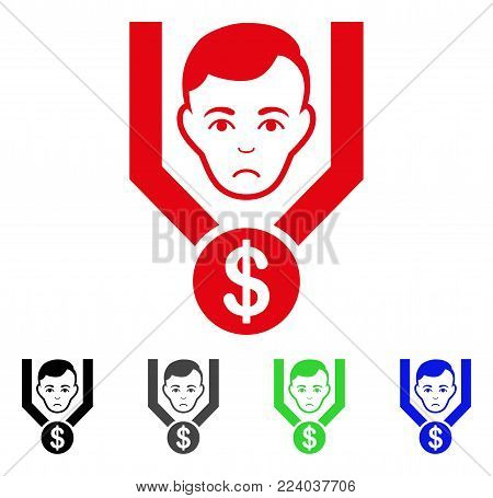 Dolor Sales Funnel Client vector icon. Vector illustration style is a flat iconic sales funnel client symbol with gray, black, blue, red, green color variants. Face has mourning mood.