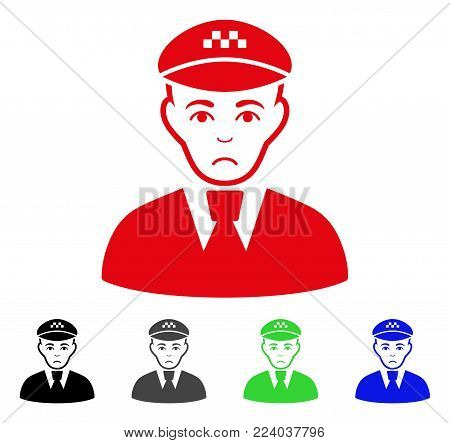 Unhappy Taxi Driver vector pictogram. Vector illustration style is a flat iconic taxi driver symbol with grey, black, blue, red, green color versions. Face has desperate emotions.