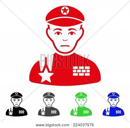 Pitiful Army General vector pictogram. Vector illustration style is a flat iconic army general symbol with grey, black, blue, red, green color versions. Face has problem sentiment.