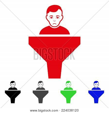Dolor Sales Funnel Client vector pictogram. Vector illustration style is a flat iconic sales funnel client symbol with gray, black, blue, red, green color variants. Face has grief expression.