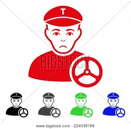 Unhappy Taxi Driver vector pictograph. Vector illustration style is a flat iconic taxi driver symbol with gray, black, blue, red, green color variants. Face has grief emotion.