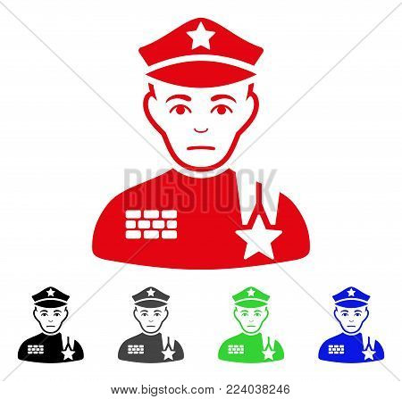 Sad Army General vector pictograph. Vector illustration style is a flat iconic army general symbol with grey, black, blue, red, green color variants. Face has stress sentiment.