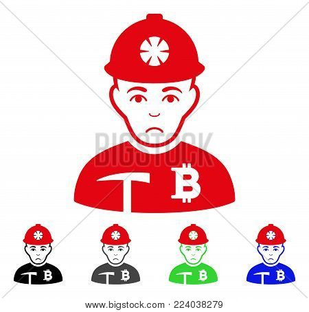 Sad Bitcoin Miner vector icon. Vector illustration style is a flat iconic bitcoin miner symbol with grey, black, blue, red, green color versions. Face has sorrow sentiment.