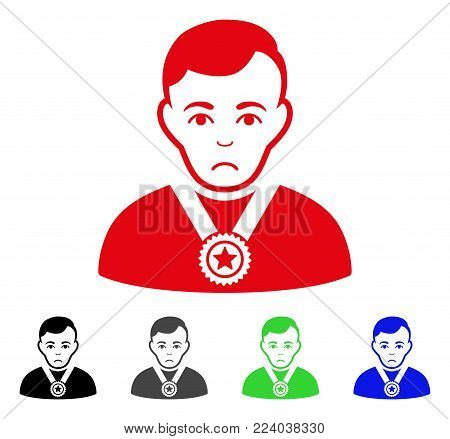 Dolor Champion vector pictogram. Vector illustration style is a flat iconic champion symbol with gray, black, blue, red, green color versions. Face has pitiful sentiment.