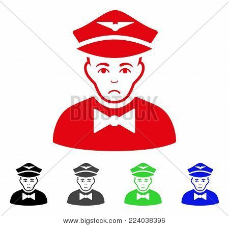 Sad Airline Steward vector pictograph. Vector illustration style is a flat iconic airline steward symbol with gray, black, blue, red, green color variants. Face has pitiful expression.