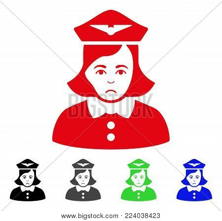 Pitiful Airline Stewardess vector pictograph. Vector illustration style is a flat iconic airline stewardess symbol with grey, black, blue, red, green color versions. Face has sadly emotion.