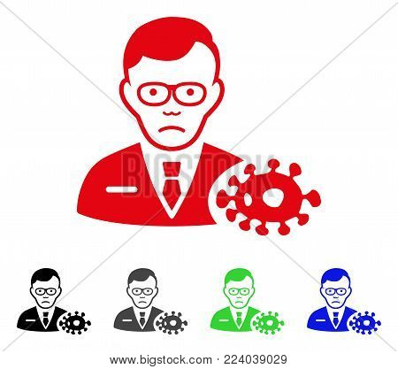 Pitiful Bacteriologist vector pictogram. Vector illustration style is a flat iconic bacteriologist symbol with grey, black, blue, red, green color versions. Face has desperate mood.