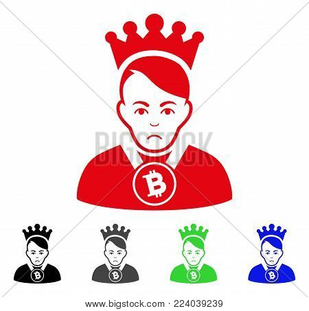 Unhappy Bitcoin Lord vector pictograph. Vector illustration style is a flat iconic bitcoin lord symbol with gray, black, blue, red, green color variants. Face has dolor expression.