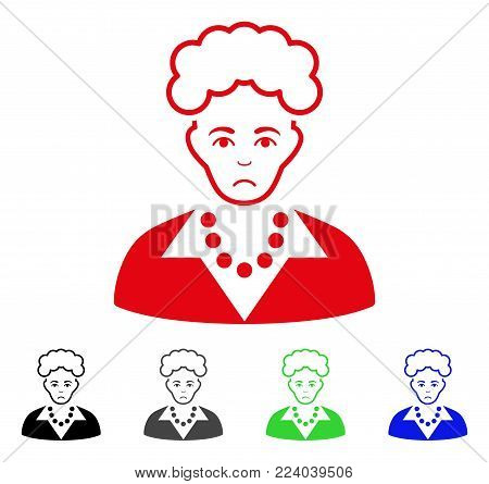 Sadly Blonde Lady vector pictogram. Vector illustration style is a flat iconic blonde lady symbol with gray, black, blue, red, green color variants. Face has desperate mood.