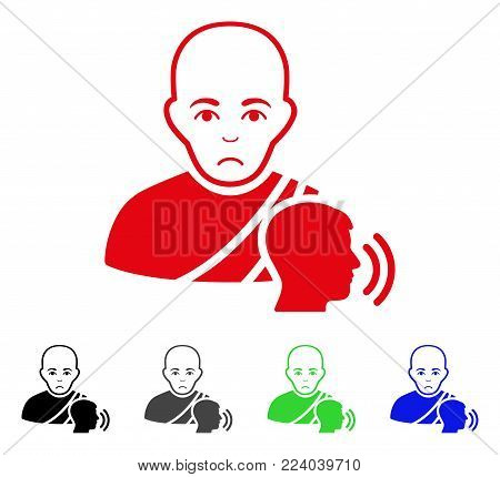 Unhappy Buddhist Confession vector pictograph. Vector illustration style is a flat iconic buddhist confession symbol with gray, black, blue, red, green color variants. Face has sorrow feeling.