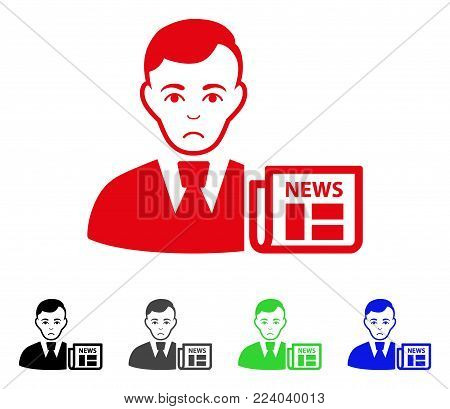 Pitiful Businessman News vector icon. Vector illustration style is a flat iconic businessman news symbol with grey, black, blue, red, green color variants. Face has depression mood.