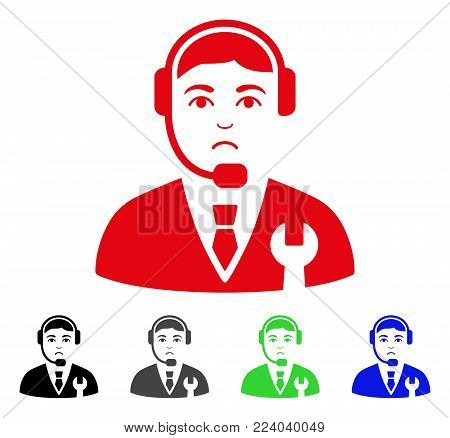 Sad Call Center Boss vector icon. Vector illustration style is a flat iconic call center boss symbol with gray, black, blue, red, green color versions. Face has grief sentiment.