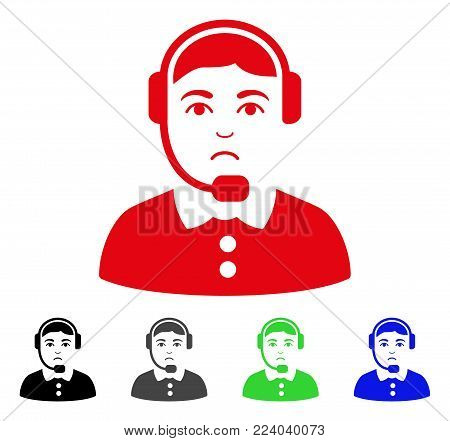 Dolor Call Center Operator vector icon. Vector illustration style is a flat iconic call center operator symbol with grey, black, blue, red, green color versions. Face has dolour expression.