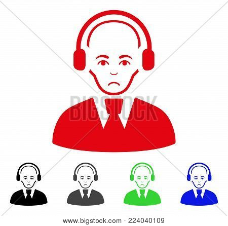 Pitiful Call Center Worker vector icon. Vector illustration style is a flat iconic call center worker symbol with grey, black, blue, red, green color versions. Face has pitiful feeling.