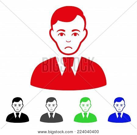 Dolor Clerk Guy vector pictograph. Vector illustration style is a flat iconic clerk guy symbol with gray, black, blue, red, green color versions. Face has depressed mood.