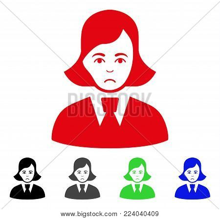 Unhappy Clerk Lady vector icon. Vector illustration style is a flat iconic clerk lady symbol with grey, black, blue, red, green color versions. Face has grief expression.