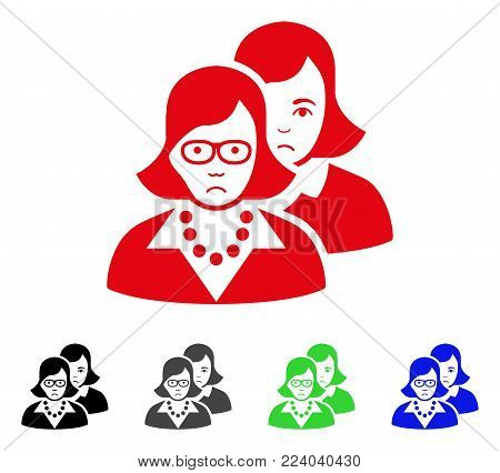 Unhappy Clever Women vector icon. Vector illustration style is a flat iconic clever women symbol with grey, black, blue, red, green color variants. Face has stress mood.