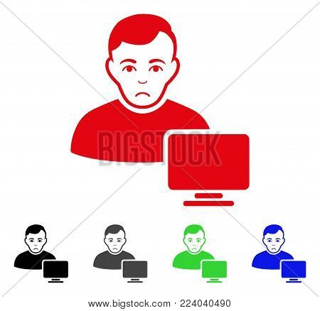 Sad Computer Administrator vector pictogram. Vector illustration style is a flat iconic computer administrator symbol with grey, black, blue, red, green color versions. Face has stress feeling.