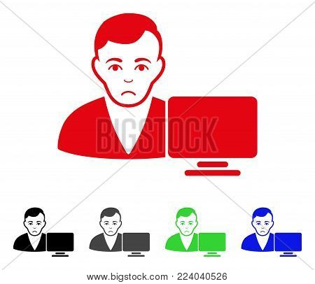 Sad Computer User vector icon. Vector illustration style is a flat iconic computer user symbol with grey, black, blue, red, green color versions. Face has depressed emotion.
