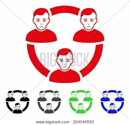Sadly Connected Social Members vector icon. Vector illustration style is a flat iconic connected social members symbol with grey, black, blue, red, green color versions. Face has unhappy emotion.