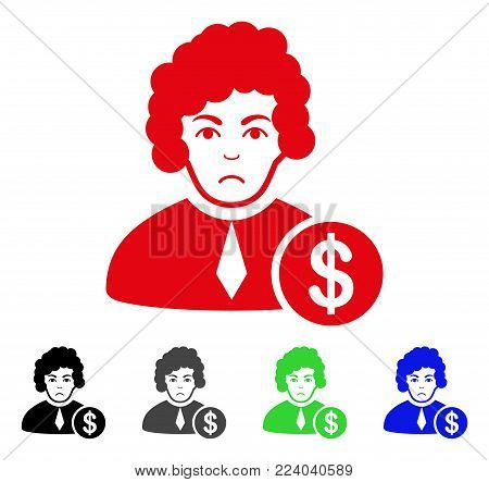Unhappy Corrupt Judge vector pictogram. Vector illustration style is a flat iconic corrupt judge symbol with grey, black, blue, red, green color variants. Face has sadness mood.