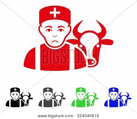 Pitiful Cow Veterinarian vector pictogram. Vector illustration style is a flat iconic cow veterinarian symbol with grey, black, blue, red, green color variants. Face has affliction emotion.
