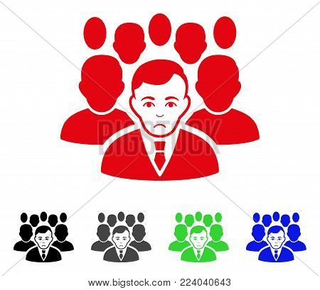 Dolor Crowd vector pictogram. Vector illustration style is a flat iconic crowd symbol with gray, black, blue, red, green color versions. Face has dolor sentiment.