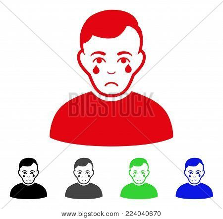 Sadly Crying Boy vector icon. Vector illustration style is a flat iconic crying boy symbol with grey, black, blue, red, green color variants. Face has depression emotion.